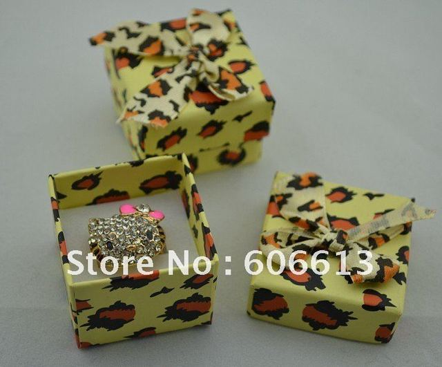 Free shipping new paper leopard ring box with bow,jewelry boxes, 24pcs/lot