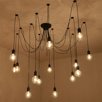E27 AC 110V 220V Loft Retro big Spider Chandelier Lighting DIY 6/8/10/12/14 Lights vintage black chandeliers modern E26 lamps