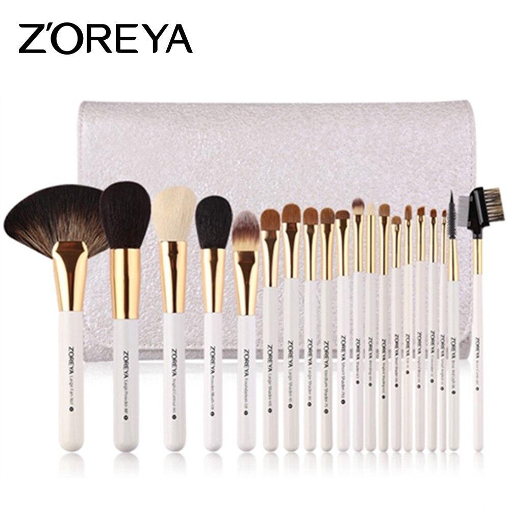 ZOREYA 20 pièces Pinceaux De Maquillage De Luxe Ensembles de Poils En Nylon Poudre Brosse Cosmétique Professionnel Grand Ventilateur Outils Super Qualité