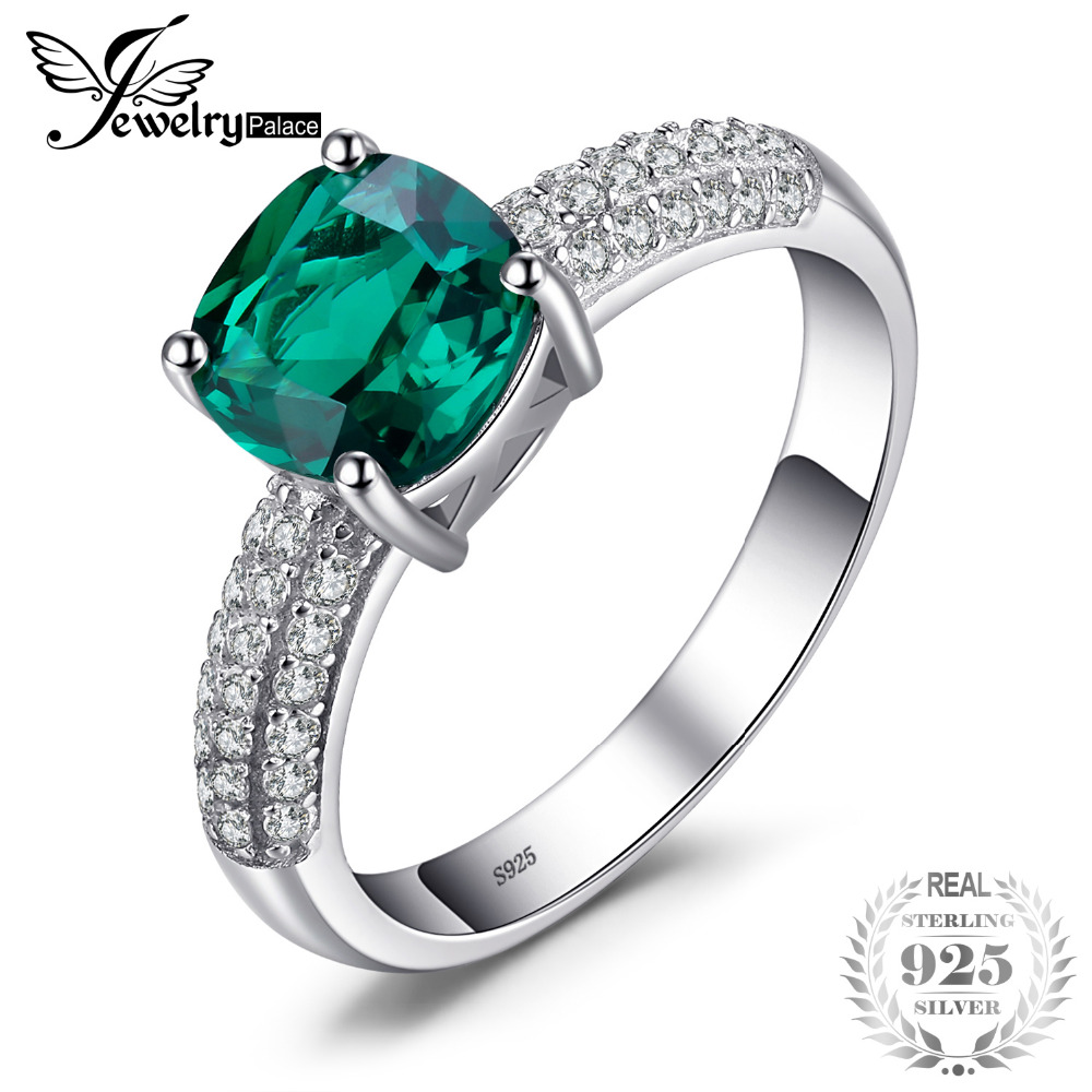 Jewelrypalace Cushion 1.8ct Green Created Emerald Solitaire Engagement Ring For Women 925 Sterling Silver Ring Fine Jewelry