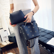 Hollow Out Women Bag Bucket Composite Bag Chain Strap Shoulder Bag Fashion Crossbody Handbags High Quality PU Leather Designer