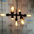 Nenhuma lâmpada Do Vintage Sótão Edison Bar Personalizado Luz Iluminação Industrial Do Vintage Tubo de ferro Lâmpada lustre E27 Preto terminado
