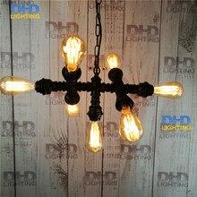Нет лампа Чердак Старинные Эдисон Свет Персонализированные Бар Освещение Промышленных Vintage железная Труба люстра E27 Черный готовой Лампы
