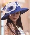Envío gratis moda mujeres sombrero sombrero Formal iglesia sombrero de la flor grande ala accesorios para el cabello flores de Organza elegante Hairwear