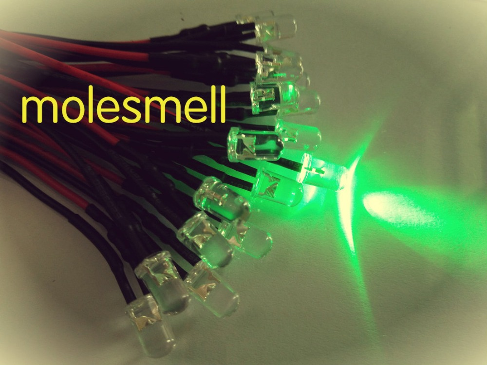 50pcs 5mm 12v Green Water Clear Round Led 12V DC 20cm Pre-Wired LED Light DIY