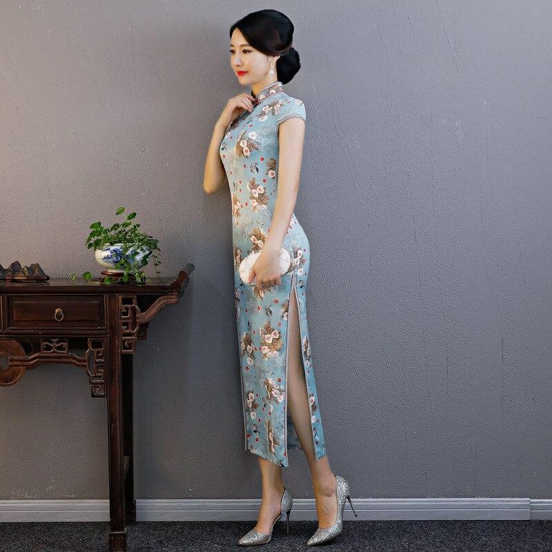 Robe Sexy pink Traditionnelle Nouveauté De Col Chinoise Élégante Fleur Cheongsam Satin Imprimer Mince Mandarin Blue Vintage Femmes Qipao Long Iymbf76Ygv