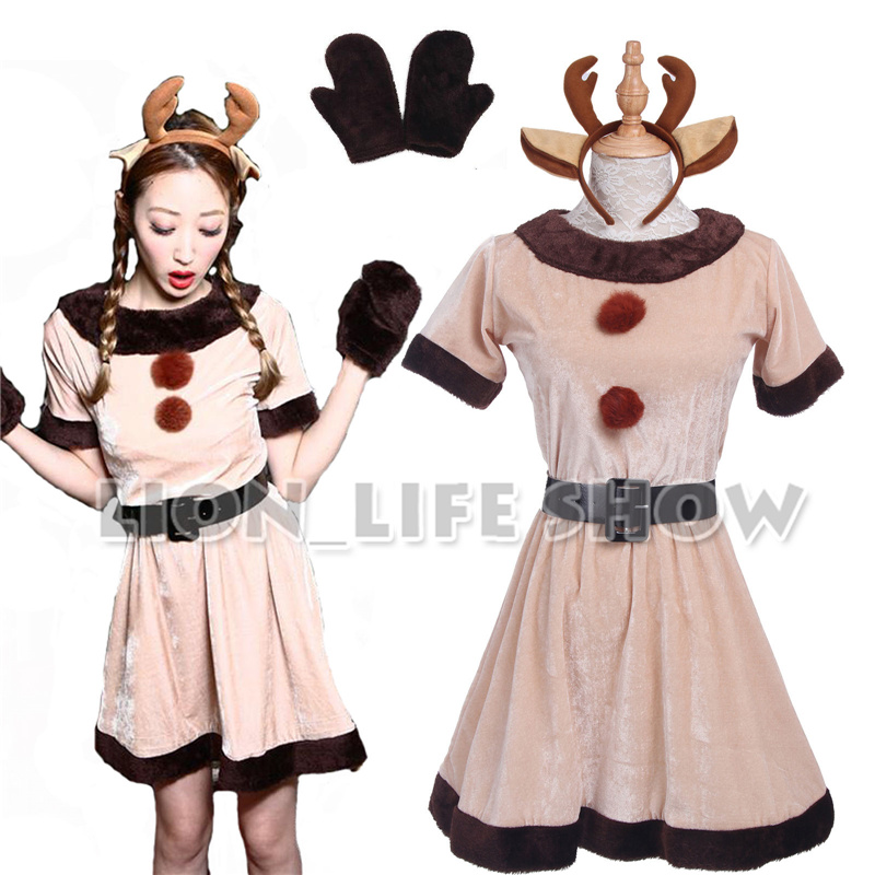 Biamoxer Women Christmas Costumes Grey Girl elk Dress Winter Deer Costume
