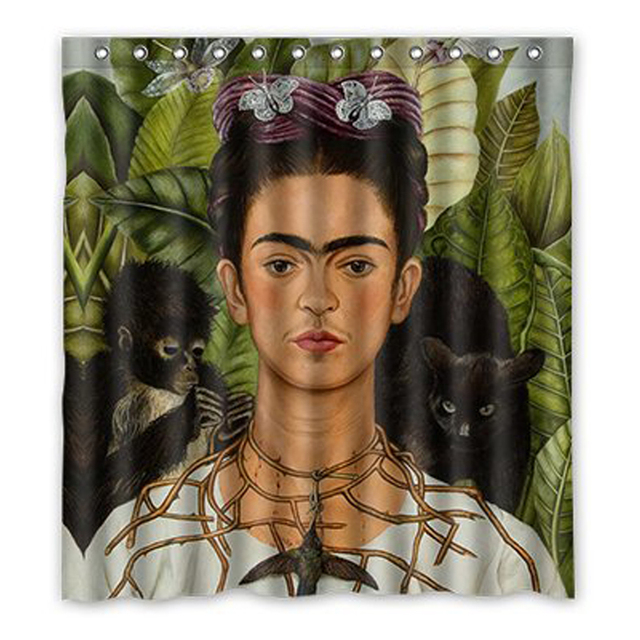 Aplysia Frida Kahlo Painting Bathroom Shower Curtains Banana Chimpanzee Eco Friendly Waterproof Fabric Bath
