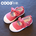 2016 Autumn kids flats girls shoes new classic style children cute bow-knot single shoes kids breathable canvas casual shoes