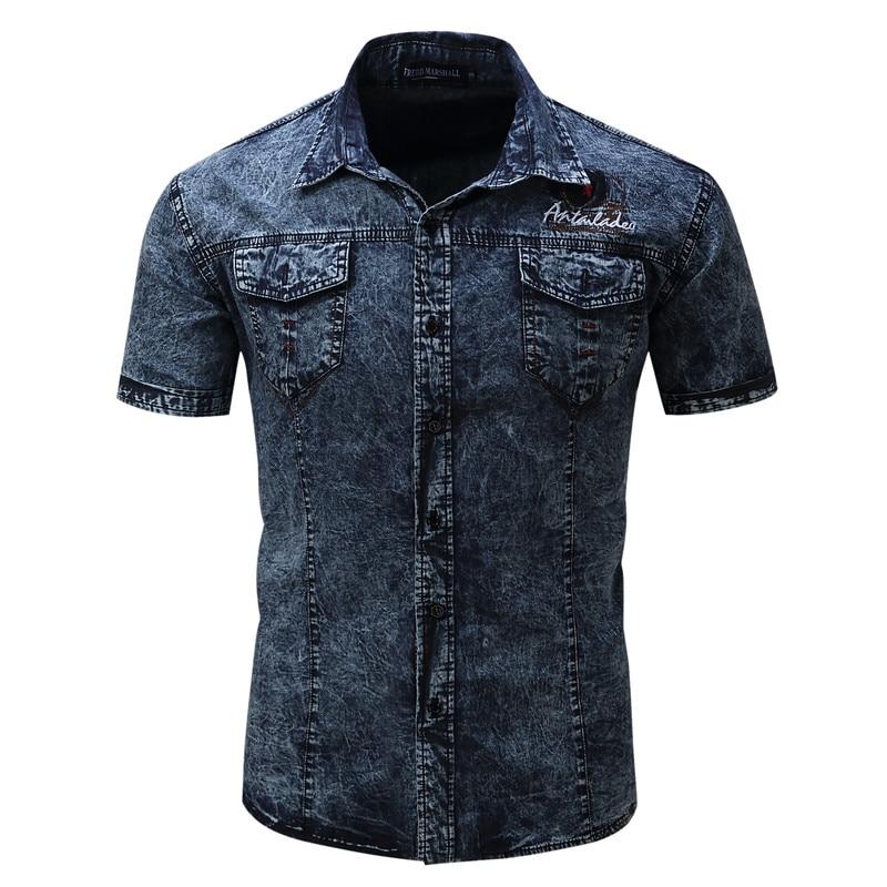2018 New Fashion Mens Short Sleeve Denim Shirts With Pockets 100%Cotton Casual Slim Fit Plus SizeSummer Mail Social Shirts ...