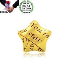 OMHXZJ Wholesale European Fashion Woman Man Party Wedding Gift Star 24KT Yellow Gold Necklace Pendant Charm CA272 olivia newton john 24kt gold record ltd edition display