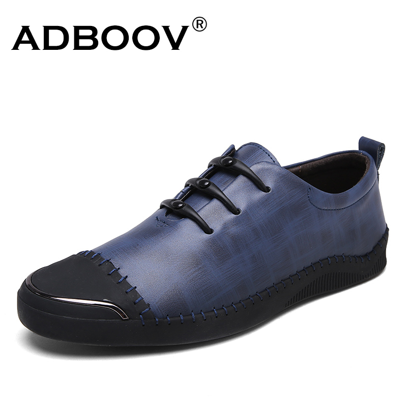 ADBOOV Cow Leather Mens Shoes Casual Handmade Shoes Round Toe Men Fashion Shoes Rubber Sole Loafers Flats Shoes hot sale mens italian style flat shoes genuine leather handmade men casual flats top quality oxford shoes men leather shoes