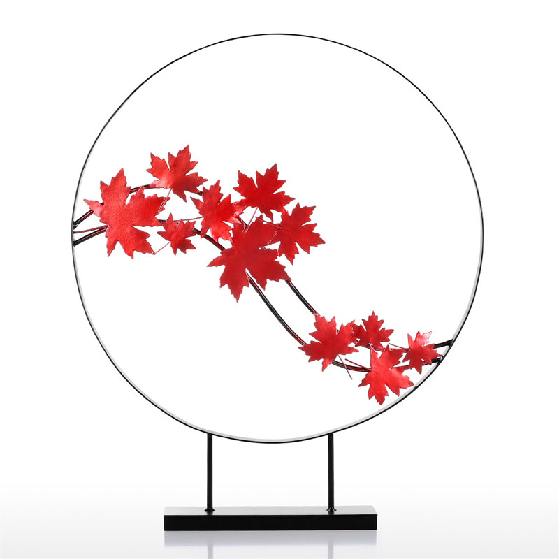 50-58cm Tomfeel Maple Leaf Ornament Iron Sculpture Abstract Modern Sculpture Iron Circle Home Decor Modern Concise Artwork R2085
