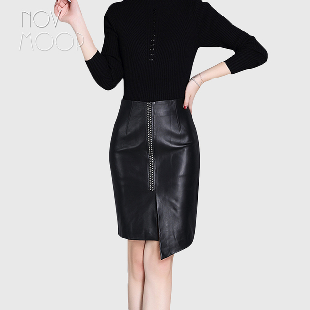 4c046a49a29 Winter autumn ladies black genuine leather real lambskin pencil skirt front  bonzing faldas mujer etek jupe plus size LT2350