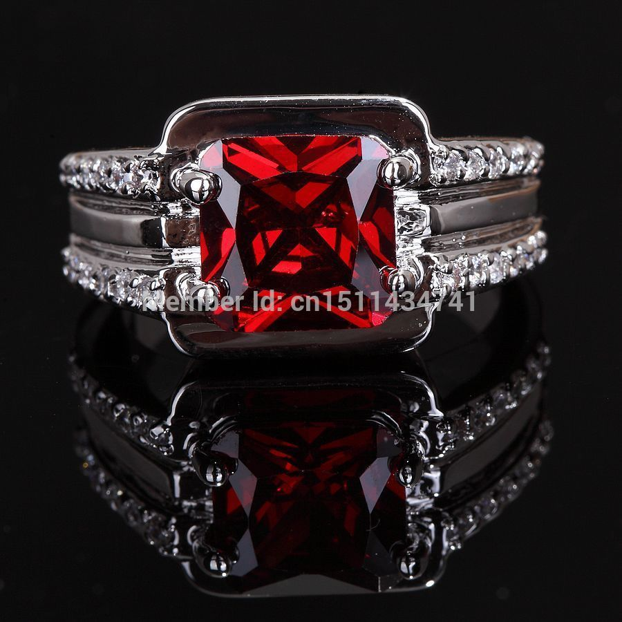Fashion Jewelry Dazzling Jewellery Garnet Diamonique Men's 10kt White Gold  Filled Party Wedding Ring Sz 10