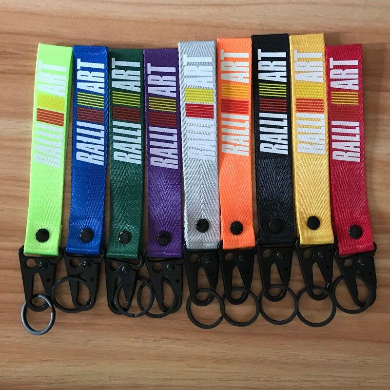 Ralliart Racing Red Keychain Metal key Ring Strap Lanyard Nylon For Mitsubishi