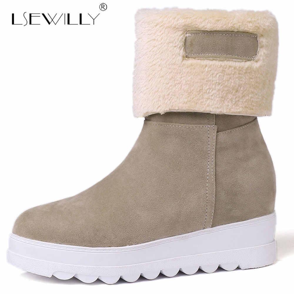 Lsewilly 2018 Bayan yarım çizmeler Platformu Sıcak Kama Topuklu Ayakkabılar Kırmızı Siyah Katlama Peluş Bayanlar Kış Kar Botları Artı Boyutu 43