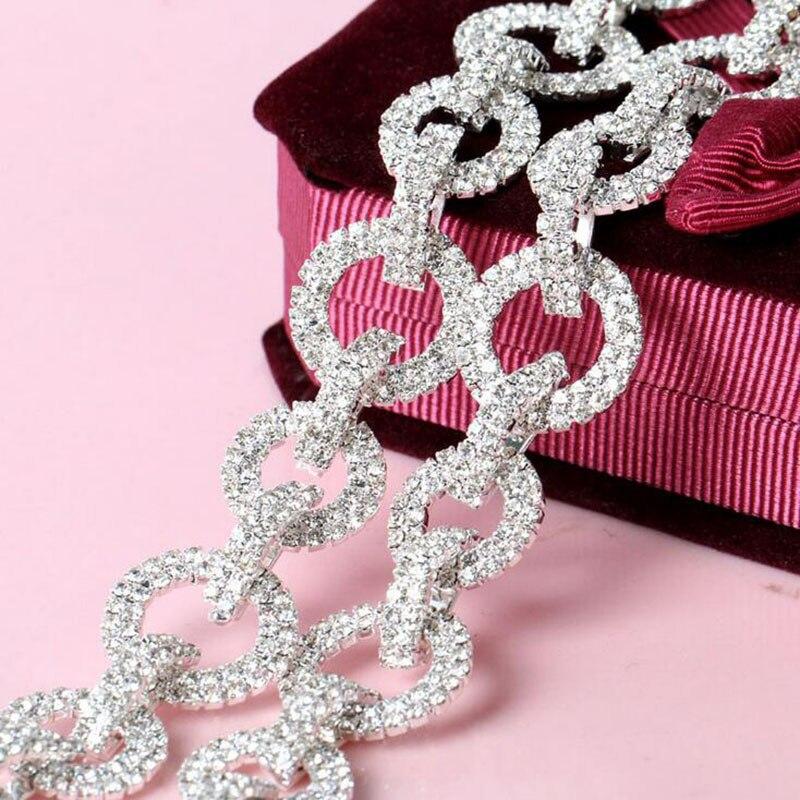 1Yard Round Circle Bridal Costume Rhinestone Chain Sewing Craft Trim Clear Crystal Applique AIWUJIA