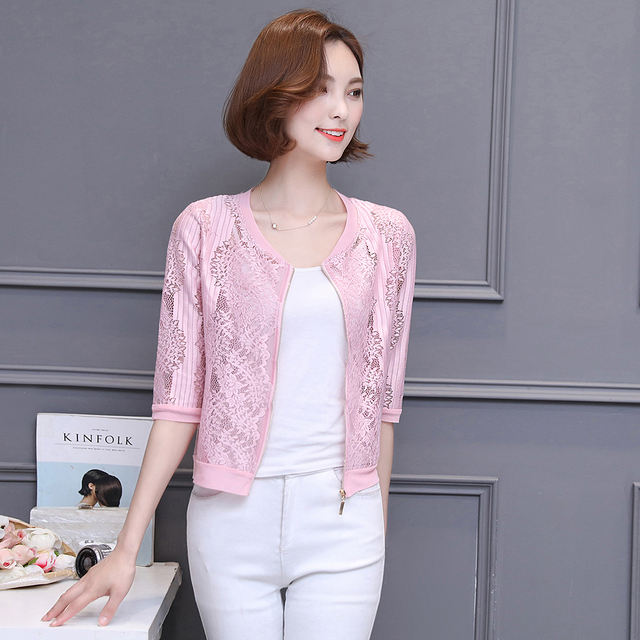 2018 Solid Summer Lace Coat White O-neck Fashion Jacket Pink Hollow Out Sexy  Cardigan