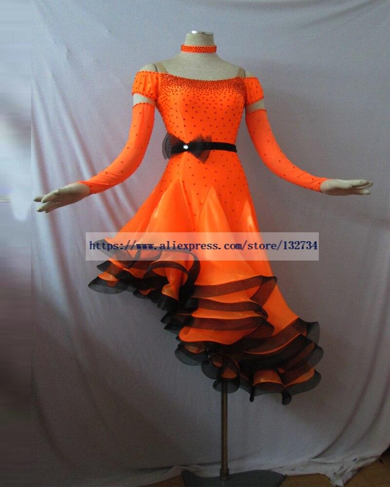 Hot-Selling Female Latin Dress! Ny tävling salsaklänning, balsalsklänning flickor dans latinsklänning Real fjäder L-0074
