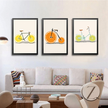 Creatively Bike Fruit Canvas Paintings Nordic Posters and Prints Minimalist Wall Art Picture For Living Room Home Decor Unframed