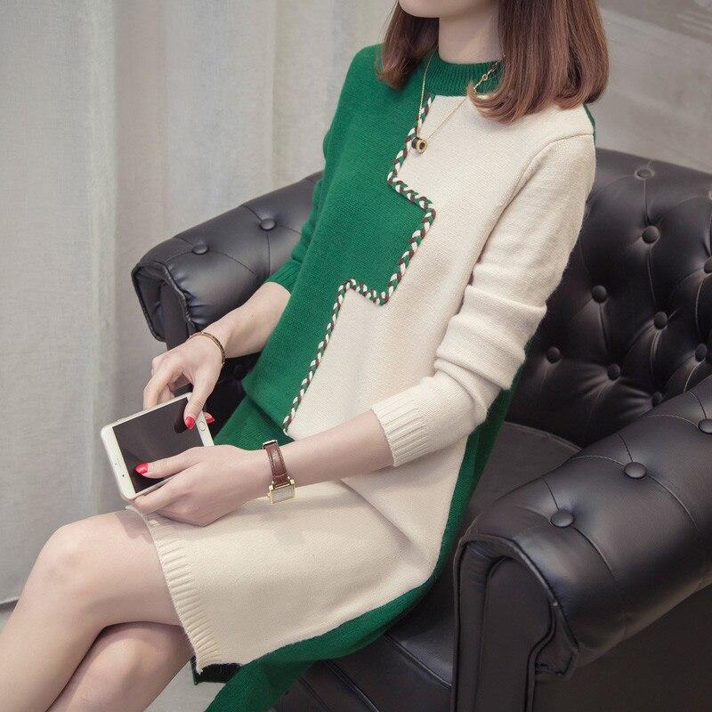 Kleid Autumn Xy731 Pullover Braunschwarzgr Frauen New Winter Lose Halbarm Rundhals Korean Pullover Kleider 2018 doeCxWBr