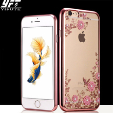 YIFUTE Soft TPU Plating frame Flowers For iPhone 7 Case 5S SE Cover For iPhone 6 X Case 7 6S 8 Plus Cases Plating Frame TPU