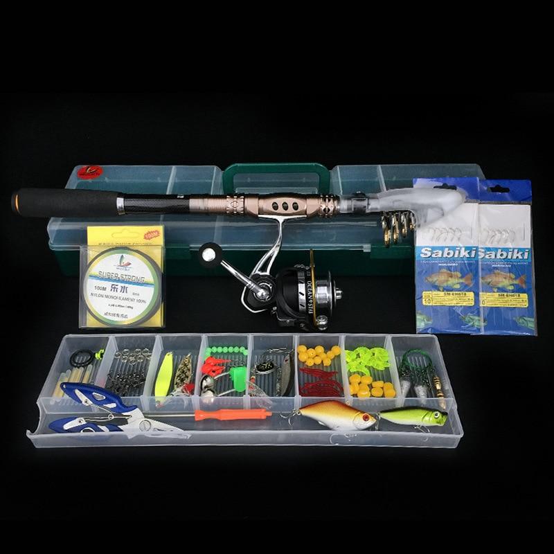 LumiParty Carbon Fiber Fishing Rod 5.2:1 Gear Ratio Fishing Reel Bait 104pcs Fishing Tool Portable Kit Freshwater Fishing удочка fishing rod 1