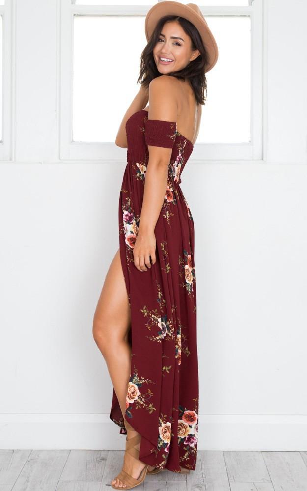 Red Wine Boho style long dress Floral print maxi dress