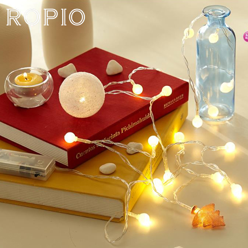 ROPIO <font><b>1.5m</b></font> 3m White Ball <font><b>LED</b></font> Fairy String Lights USB Charge Romantic Outdoor Light for Home Garden Wedding Decoration image