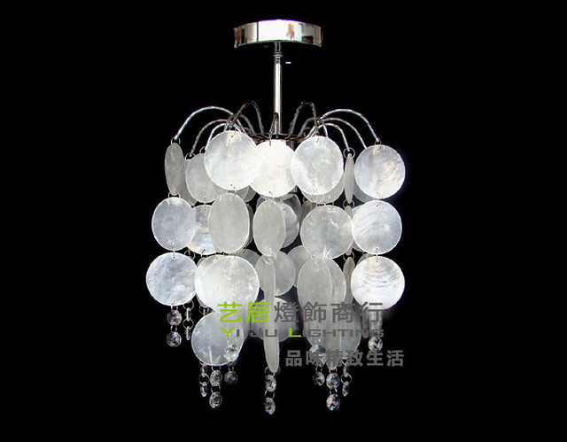 Sea Rock S Wrought Iron Natural White Pendant Lights Super Dense Shell Crystal Dome Light Corridor