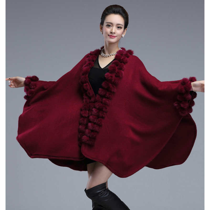 ファッショントレンドロングラビットファーポンチョショールオーバーコートウールカシミヤの毛皮のケープセーターパシュミナ女性ギフト秋冬