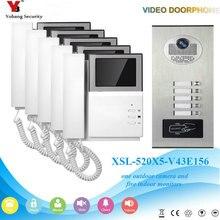 YobangSecurity Video Intercom 4.3 Inch Video Door Phone Doorbell Intercom System RFID Access Door Camera For 5 Unit Apartment