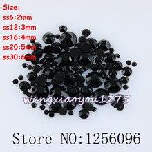 100-1000pcs/bag,Nail Art,SS6/12/16/20/30,Black resin flat back crystal rhinestone,Not Hotfix,Use glue,phone case,applique,nails