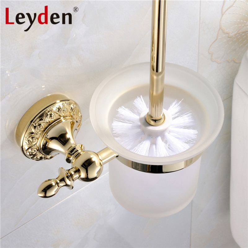 Leyden High Quality Luxury Solid Brass Gold Toilet Paper Holder Flower Carving Gold Base Toilet Paper