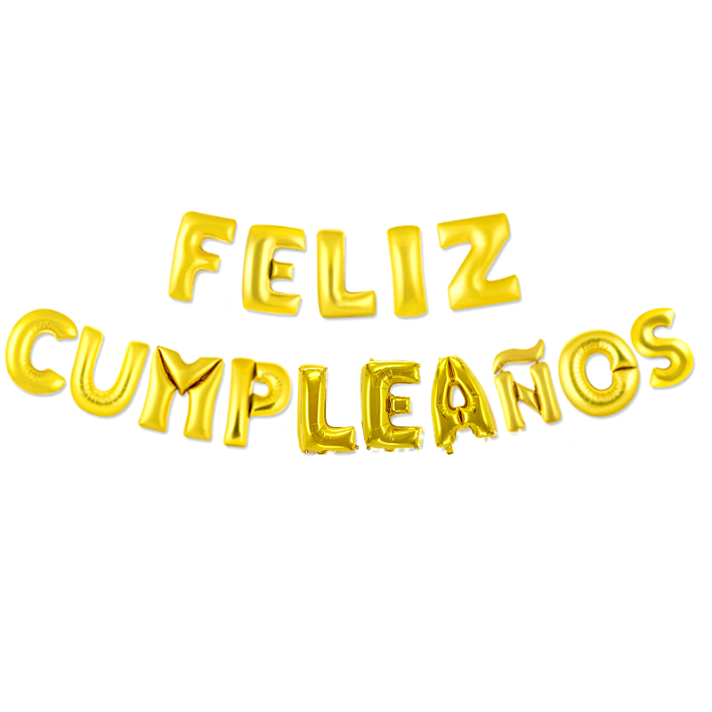 16 inch Letters FELIZ CUMPLEANOS Foil Balloons Happy Birthday Party Decoration Kids Alphabet Air Balloons Baby Shower Supplies in Ballons Accessories from Home Garden