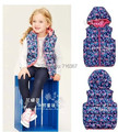 Free Shipping- girl spring/autumn waistcoat floral vests, children fleece lined gilets, baby floral vest(MOQ: 1pc)