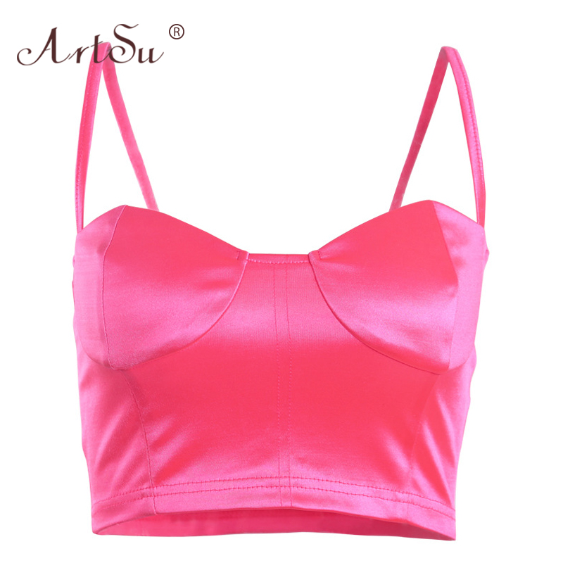 ArtSu Satin Basic Summer Tank Tops Women Shinny Sleeveless Low Cut Bustier Crop Tops Lady Sexy Clubwear Black Pink Party Top 1