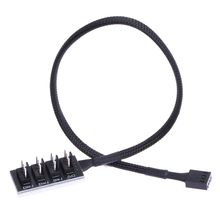 37cm Host Case PC Cooler Cooling Fan Power Cable 1 Female to 4 Male 4Pin Socket Fan Hub Splitter Cord for Multi Way PWM Fan PC