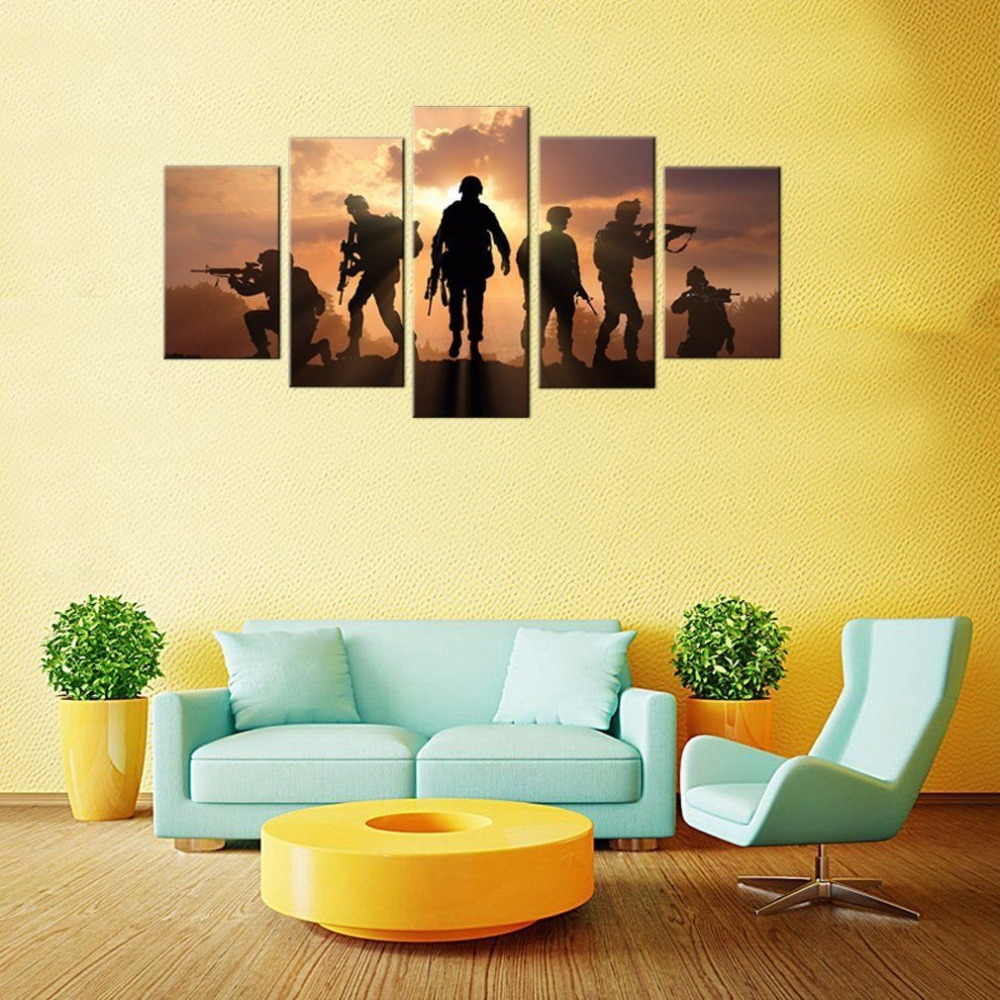 Framed Wall Painting 5Piece soldiers Took the Gun Sunset For Living ...