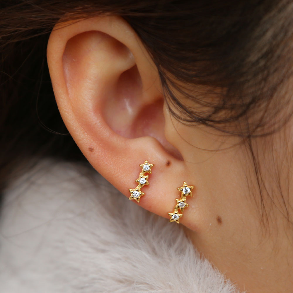 925 sterling silver minimal delicate three star earring stud for lady 2019 Valentine's Day gift gold filled cz dainty cute earr