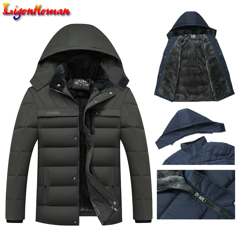 Winter Jacket Overcoat Men Parkas Hooded Zipper Warm Fleece Thicken Male Hot Hat Outwear title=