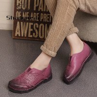 Autumn Folk Style Flat Shoes Women Retro Handmade Shoes Sandals Fish Head Shoes Genuine Leather Soft