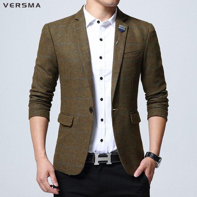22651f7020bd VERSMA High Quality Khaki Plaid Slim Fit Blazer Suit Jacket Men Trendy  British Style Wedding Men