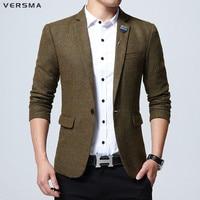 VERSMA High Quality Khaki Plaid Slim Fit Blazer Suit Jacket Men Trendy British Style Wedding Men Designer Suits Blazers Male 5XL