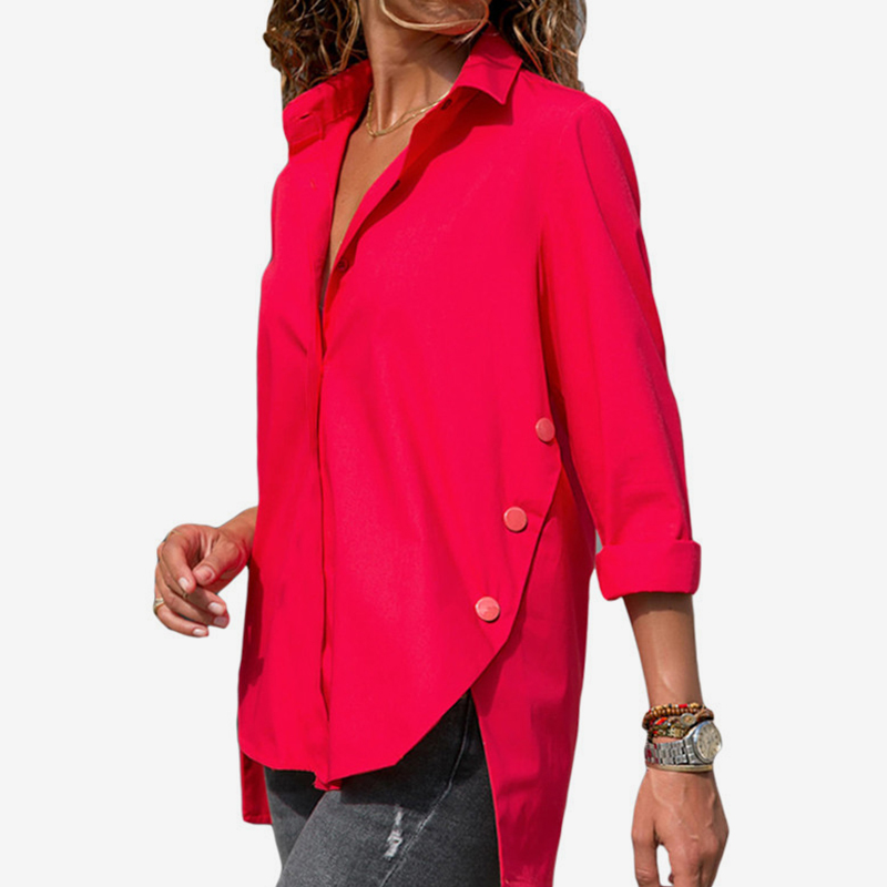 Women Turn Down Collar Irregular Long Sleeve Chiffon Shirts 2020 Autumn Office Solid Blouses Female Fashion Shirt Tops Plus Size