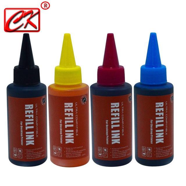 Universal High quality 4 Color 100ml Dye Ink For Canon HP Brother  Lexmark DELL Kodak Inkjet Printer CISS Cartridge Printer Ink