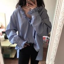Spring Summer Casual Long Sleeve Blue Striped Shirt Deep V Neck Cotton Blouse Blusas