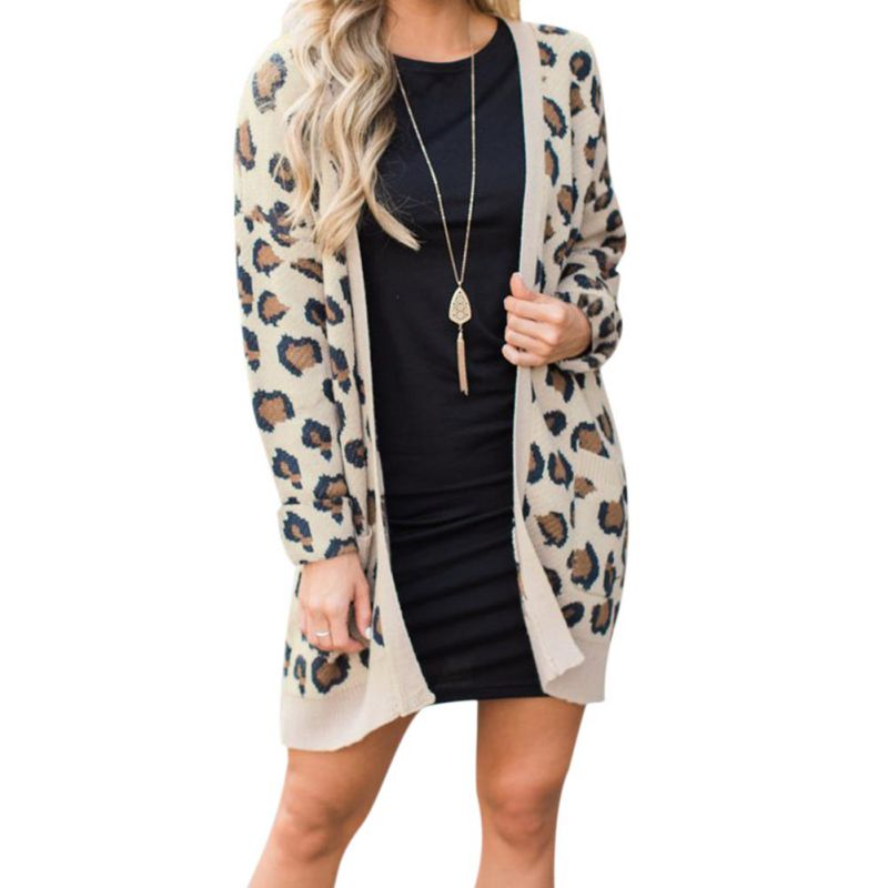 Fashion Sexy Leopard Printed Cardigan  Women Autumn Casual Slim Cardigan Coat Women Long Sleeve Pockets Cardigan Jacket