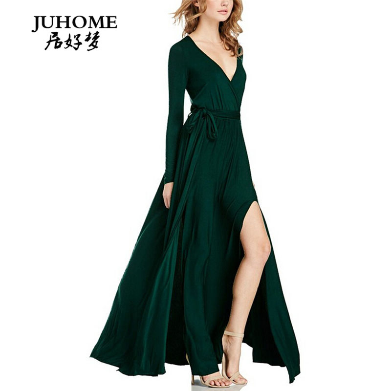 bc3b4012362 Buy green ladies designer long sleeve evening dress and get free shipping  on AliExpress.com